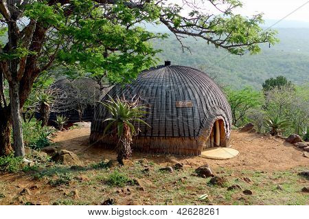 Isangoma house in Shakaland Zulu Village in Kwazulu Natal province, South Africa.