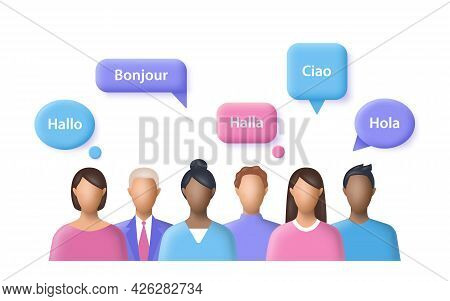 Mother Language. People Say The Word Hello In Different International Languages. 3d Vector Illustrat