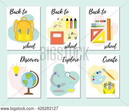 Set Of Back To School Greeting Cards, Posters Or Flyers. Collection Of Cards With School Items And E
