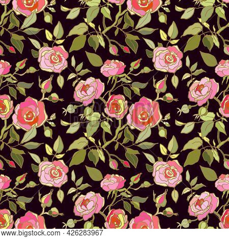 Cute Floral Pattern Of Pink Roses Flowers. Seamless Print With Wild, Garden Flowers. Vintage Collect