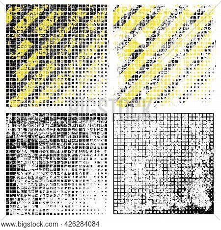 Set Of Grunge Halfton, Texture With Shabby Old Stripes In Black And Yellow, Design Flat Style Vector