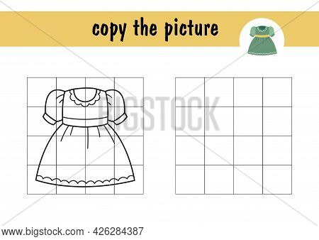Draw A Cartoon Dress For Children Using The Example. Children S Mini-game On Paper, Learning To Draw