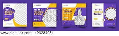 Office, Home And Hotel Cleaning Social Media Post Banner. Cleaning Service Social Media Post Banner