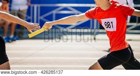 Men Relay Race Running Track And Field Competition