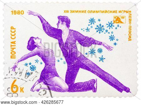 Ussr-circa 1980: A Stamp Printed In The Ussr, Dedicated Xiii Winter Olympic Games, Lake Placid, Figu