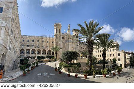 Jerusalem, Israel - March 08, 2021: Papal Center Notre Dame Jerusalem Next To The Walls Of The Old C