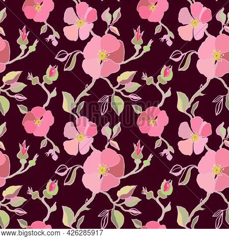 Watercolor Sakura And Thorns Pattern. Seamless Natural Texture With Pink Blossom Cherry Tree Branche