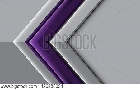Abstract Purple Glossy Grey Metallic Arrow Direction With Blank Space Design Modern Futuristic Backg