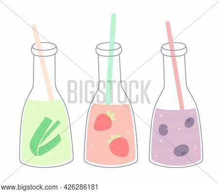 Set Of Bottles With Fresh Smoothies Or Fruit Juice. Summer Juices. Vector Set Of Isolates On A White