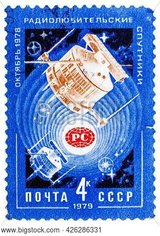 Ussr - Circa 1979: A Stamp Printed By Ussr Shows Satellites Radio 1 And Radio 2 In Space, Circa 1979