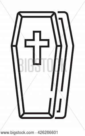 Funeral Icon Vector In Thin Line Style. The Coffin With The Cross On The Lid Is Open.