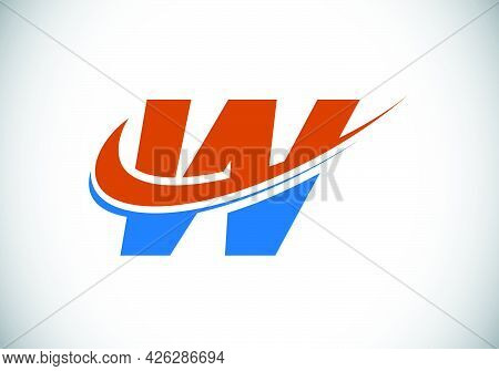 Initial Letter W With Swoosh, Red And Blue Logo Template. Modern Vector Logotype For Business And Co