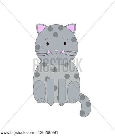 Cute Grey Cat In Simple Hand Drawn Style Vector Illustration, Funny Cartoon Pet, Domestic Animal For