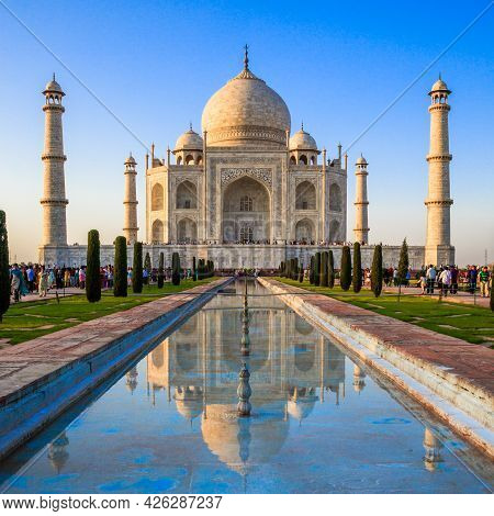 Agra, Uttar Pradesh, India - March 26: Classic View Of The Famous Taj Mahal In India - A Unesco Worl