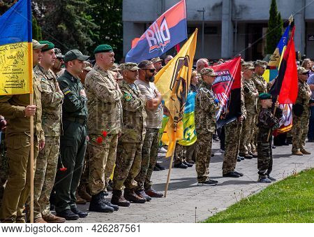 Khmelnitsky. Ukraine. May 23, 2021. Ukrainian Soldiers At The Parade For The Day Of Heroes.