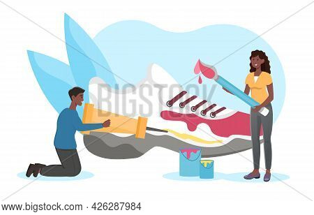 Smiling Male And Female Characters Are Designing New Running Shoe Together. Man And Woman Lacing, Pa