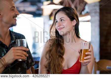 Couple Having A Date At A Restaurant.