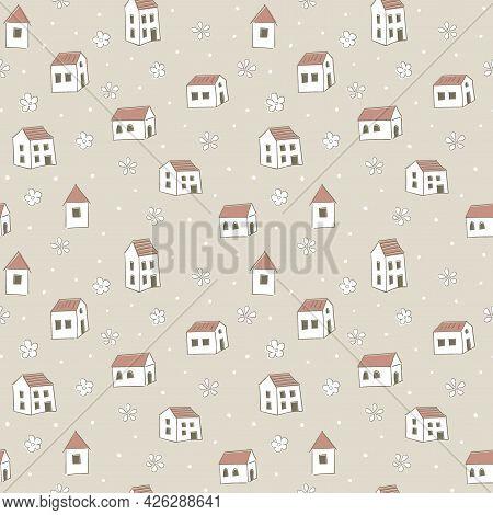 House Seamless Pattern. Childrens Cartoon Background. Cute Monochrome Print. Brown Pastel Palette. F