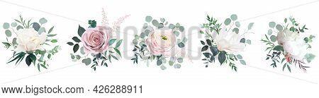 Blush Pink Rose, Ranunculus, Camellia, White Peony And Magnolia Vector Design Bouquets.