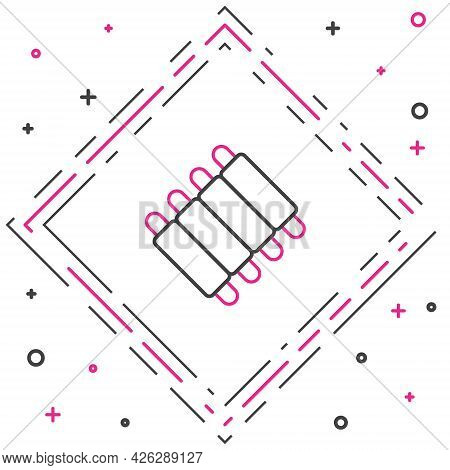 Line Grilled Pork Bbq Ribs Icon Isolated On White Background. Colorful Outline Concept. Vector