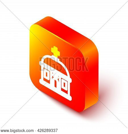 Isometric Line Santorini Building Icon Isolated On White Background. Traditional Greek White Houses