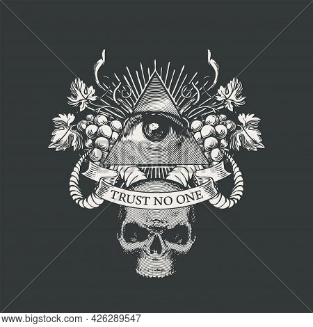 Vector Coat Of Arms With Masonic Symbol Of All-seeing Eye Of God, Grapes, Rams Horns And Skull On Bl