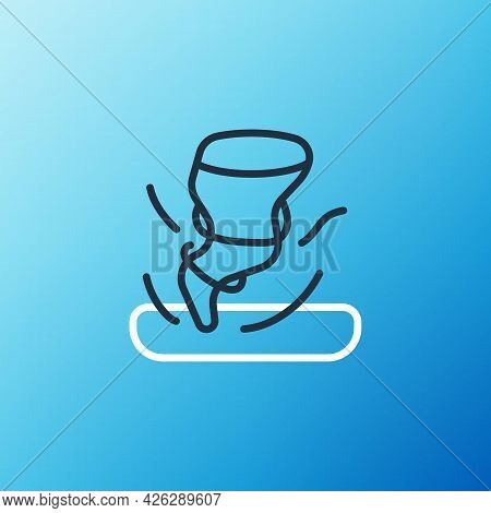 Line Tornado Icon Isolated On Blue Background. Cyclone, Whirlwind, Storm Funnel, Hurricane Wind Or T