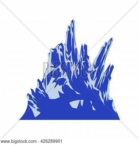 Mountain Peak Vector Hill Illustration Landscape. Rock Icon Mountain Peak Nature Outdoor Symbol Trav