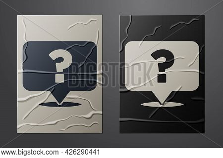 White Question Mark Icon Isolated On Crumpled Paper Background. Faq Sign. Copy Files, Chat Speech Bu