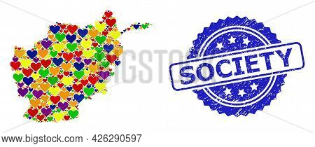 Blue Rosette Rubber Seal With Society Phrase. Vector Mosaic Lgbt Map Of Afghanistan From Love Hearts