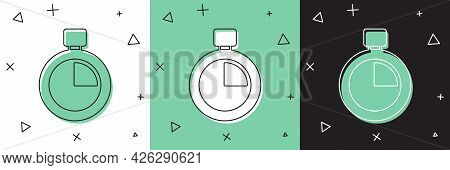 Set Stopwatch Icon Isolated On White And Green, Black Background. Time Timer Sign. Chronometer Sign.