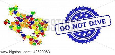 Blue Rosette Distress Seal Imprint With Do Not Dive Caption. Vector Mosaic Lgbt Map Of Alava Provinc