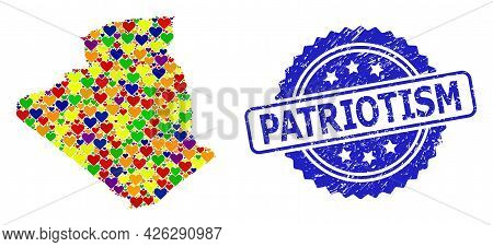 Blue Rosette Scratched Watermark With Patriotism Text. Vector Mosaic Lgbt Map Of Algeria With Lovely