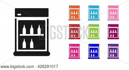 Black Commercial Refrigerator To Store Drinks Icon Isolated On White Background. Perishables For Sto