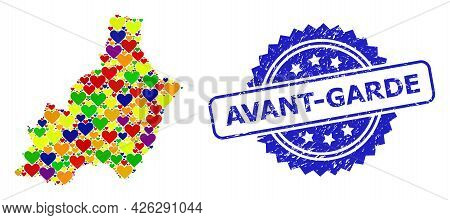 Blue Rosette Textured Seal With Avant-garde Caption. Vector Mosaic Lgbt Map Of Almeria Province With