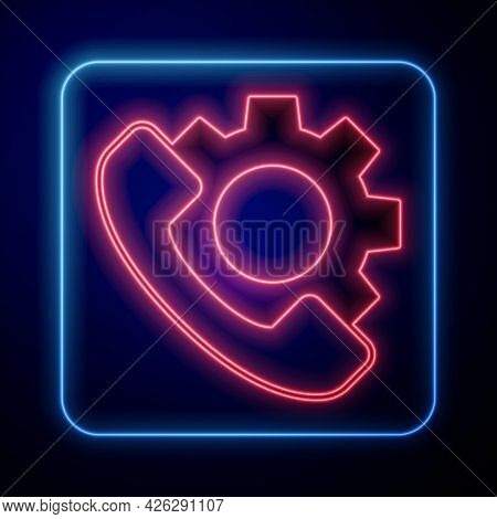Glowing Neon Telephone 24 Hours Support Icon Isolated On Black Background. All-day Customer Support