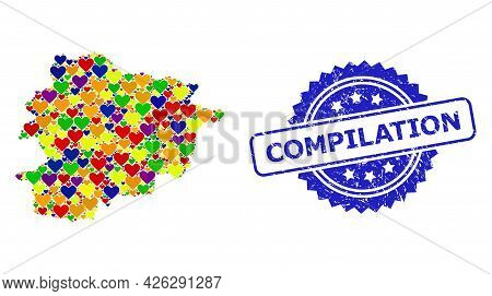 Blue Rosette Textured Seal Imprint With Compilation Text. Vector Mosaic Lgbt Map Of Andorra With Hea