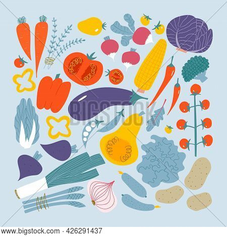 Vegetables Set. Cute Doodle Textured Veggies: Tomato, Beet, Onion, Pepper, Corn, Eggplant.