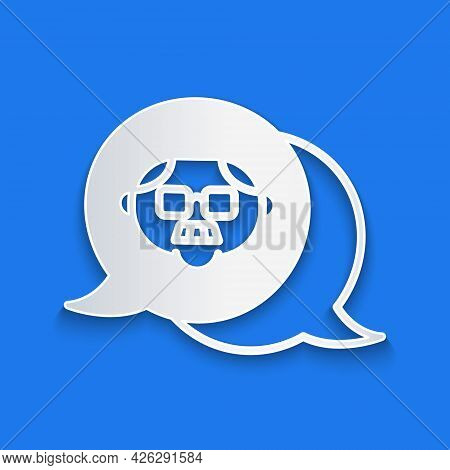 Paper Cut Grandfather Icon Isolated On Blue Background. Paper Art Style. Vector