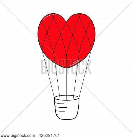 Balloon In The Form Of A Red Heart With A Basket. Valentine's Day. Declaration Of Love. Vector Hand
