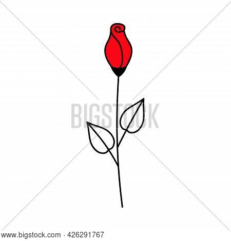 Red Rose. Valentine's Day. Declaration Of Love. Vector Hand Drawn Illustration. For Greeting Card, S