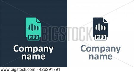 Logotype Mp3 File Document. Download Mp3 Button Icon Isolated On White Background. Mp3 Music Format