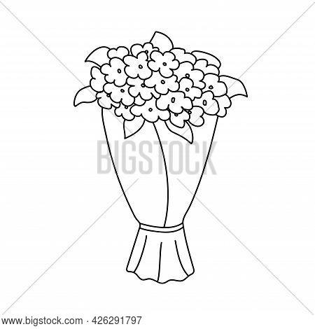 Bouquet Of Flowers. Valentine's Day. Declaration Of Love. Happy Birthday. Vector Hand Drawn Illustra
