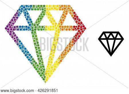 Brilliant Collage Icon Of Round Dots In Variable Sizes And Spectrum Color Tinges. A Dotted Lgbt-colo