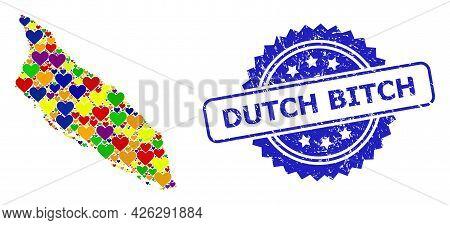 Blue Rosette Textured Watermark With Dutch Bitch Caption. Vector Mosaic Lgbt Map Of Aruba Island Of