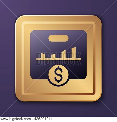 Purple Kpi - Key Performance Indicator Icon Isolated On Purple Background. Gold Square Button. Vecto