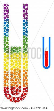 Blood Test Tube Collage Icon Of Filled Circles In Different Sizes And Spectrum Bright Shades. A Dott