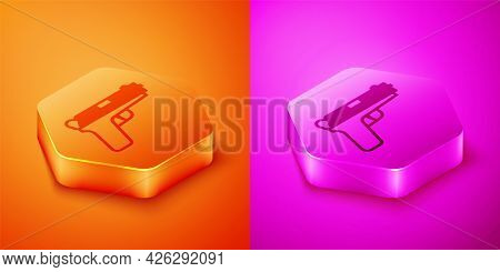 Isometric Pistol Or Gun Icon Isolated On Orange And Pink Background. Police Or Military Handgun. Sma