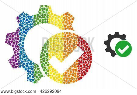 Apply Settings Gear Composition Icon Of Spheric Dots In Various Sizes And Spectrum Colorful Color Ti