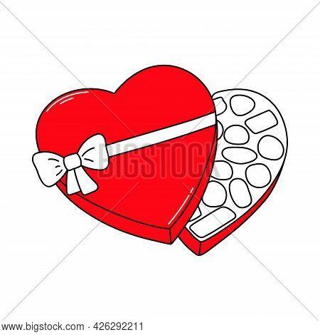 Candy Box. Chocolate Candies. Valentine's Day. Declaration Of Love. Happy Birthday. Vector Hand Draw
